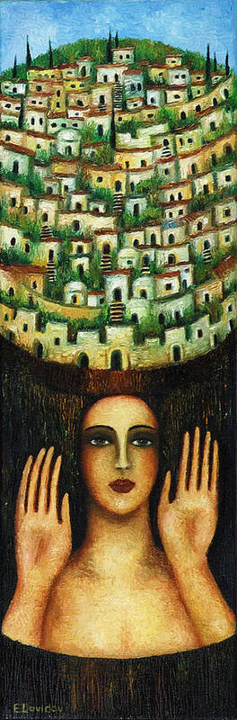 Image Art Print featuring the painting Old City No 1. by Evgenia Davidov