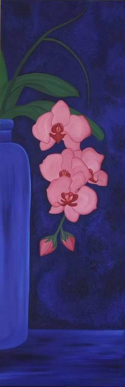 Marinella Owens Art Print featuring the painting Orchide In A Vase by Marinella Owens