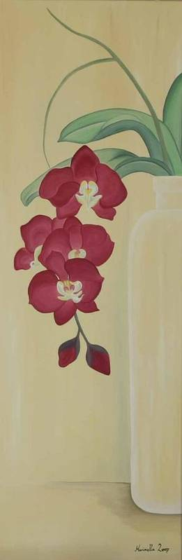 Marinella Owens Art Print featuring the painting Pink Orchide In A Vase by Marinella Owens