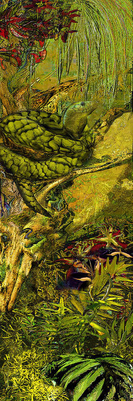 Snake Art Print featuring the painting Snake In The Jungle by Anne Weirich
