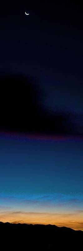 Moon Art Print featuring the photograph Sunrise Over Saguache by Emily Horn