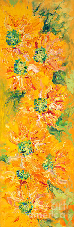 Yellow Art Print featuring the painting Textured Yellow Sunflowers by Nadine Rippelmeyer