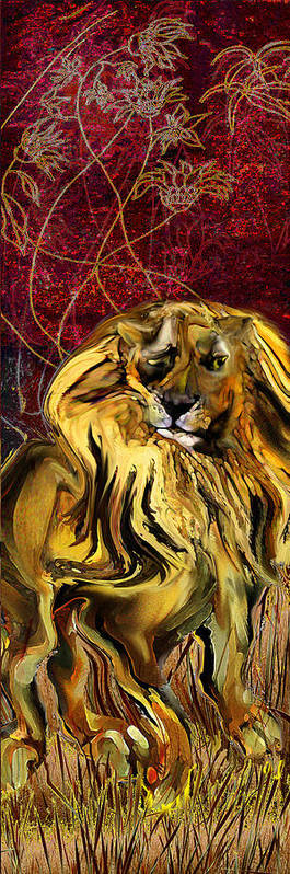 Lion Art Print featuring the painting The Squinting Lion by Anne Weirich