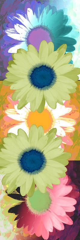 ruth Palmer Art Art Print featuring the digital art Vertical Daisy Collage II by Ruth Palmer