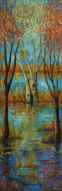 Landscape Art Print featuring the painting Water - Left Part Of Triptych. by Evgenia Davidov
