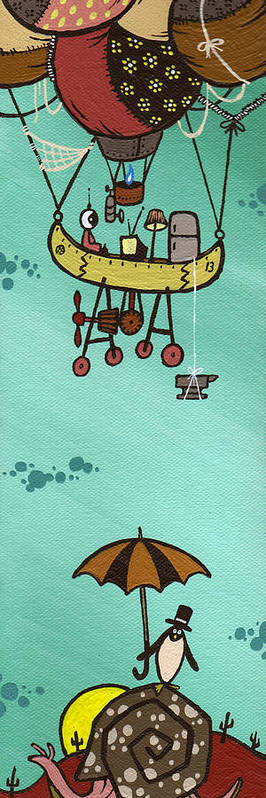 Baloon Print featuring the painting What Goes Up.... by Dan Keough