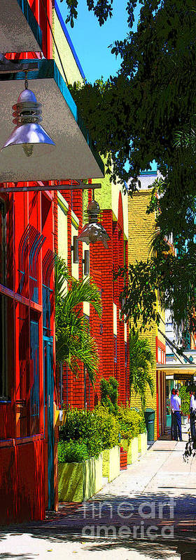 Red Art Print featuring the digital art Downtown Ft Myers by Peggy Starks