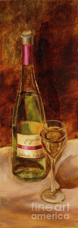 Wine Art Print featuring the painting White Wine-joyous by Vic Mastis