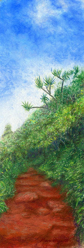 Coastal Decor Art Print featuring the painting Along The Trail by Kenneth Grzesik