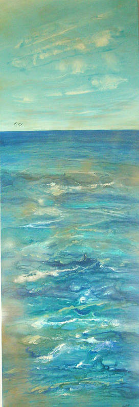 Contemporary Sea Art Print featuring the painting Mer Douce De L by Annie Rioux