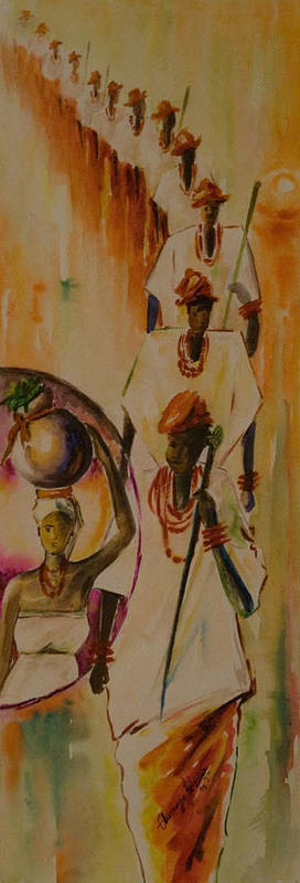 Art Print featuring the painting Procession by Alfred Awonuga