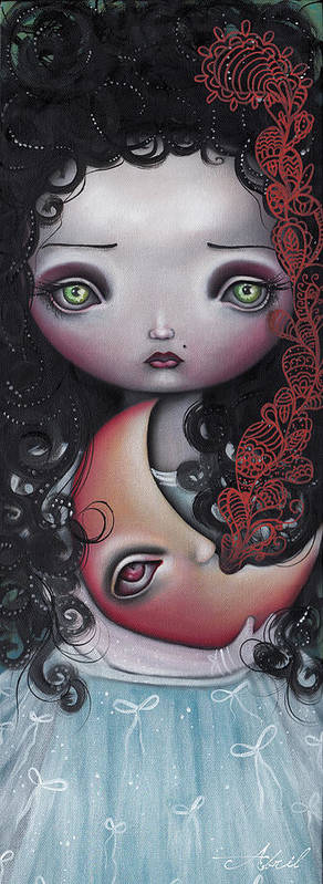Moon Print featuring the painting Moon Keeper by Abril Andrade Griffith