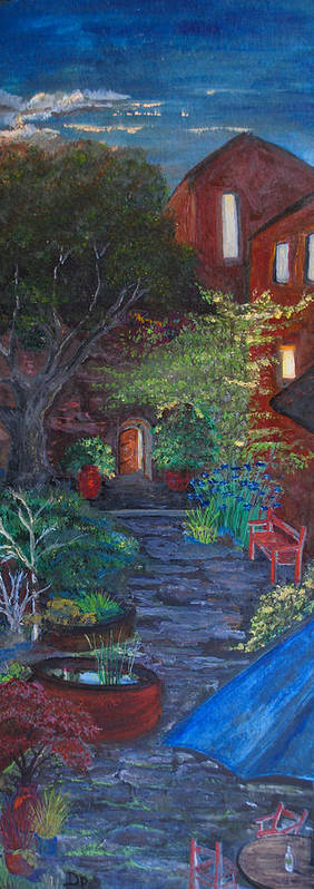 Villa Art Print featuring the painting Sunset At The Villa by Dixie Adams