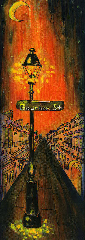Bourbon Street Art Print featuring the painting Bourbon Street Lamp Post by Catherine Wilson