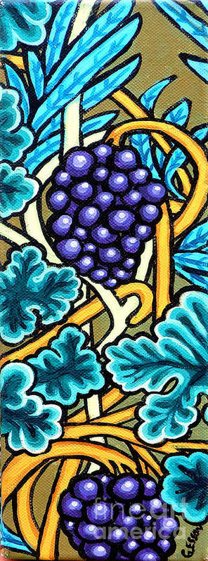 Purple Grapes On A Vine Print featuring the painting Grapes by Genevieve Esson