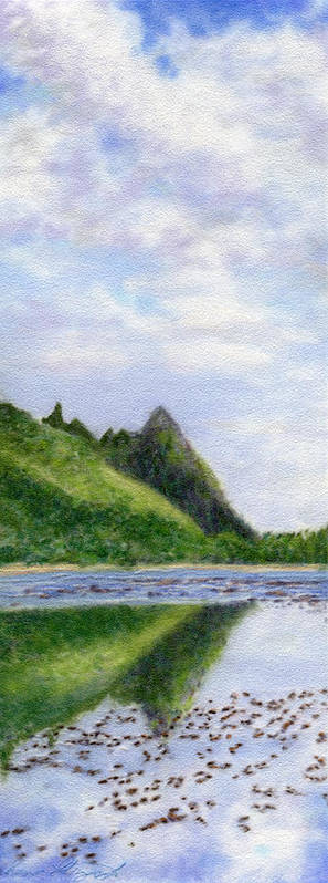 Rainbow Colors Pastel Art Print featuring the painting Makana Reflection by Kenneth Grzesik