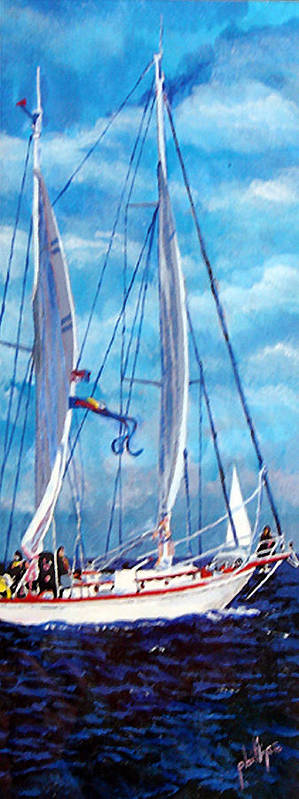 Sailboat Art Print featuring the painting Profile Of A Sailboat by Jim Phillips