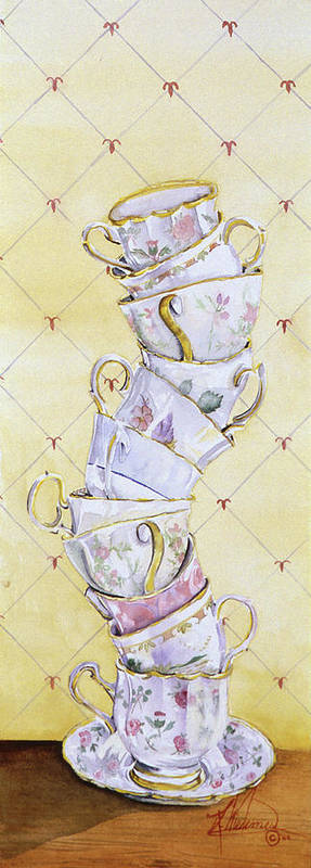 Tea Cups Art Print featuring the painting Tea - Ter Totter by Leah Wiedemer