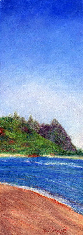 Rainbow Colors Pastel Art Print featuring the painting Tunnels Beach View by Kenneth Grzesik