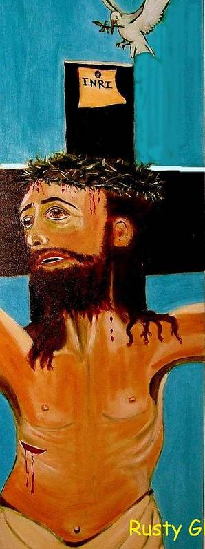 Jesus Art Print featuring the painting Yeshua by Rusty Woodward Gladdish