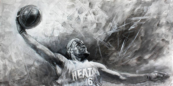 Lebron James Art Print featuring the painting King James Lebron by Ylli Haruni