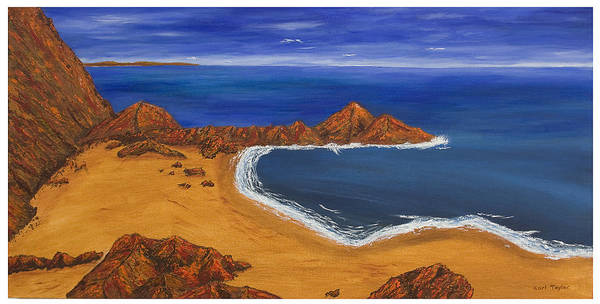 Irish Landscape Art Print featuring the painting Secluded Beach Donegal by Carl Taylor