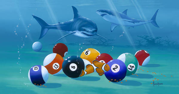 Billiards Art Print featuring the painting Pool Sharks by Kenneth F Aunchman