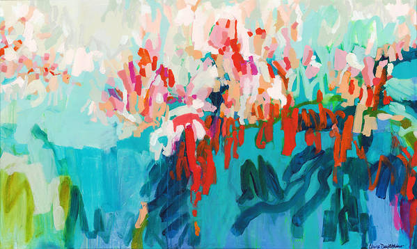 Abstract Art Print featuring the painting What Are Those Birds Saying? by Claire Desjardins