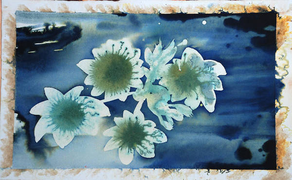 Blue Flowers Ink Dreamy Dream Blossom Art Print featuring the painting The Hopes And Dreams Of A Blossom On A Lake by Amy Bernays