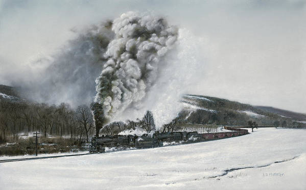 Trains Art Print featuring the painting Mount Carmel Eruption by David Mittner