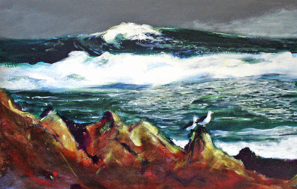 Seascape Art Print featuring the painting Near Pacific Grove by Paul Miller