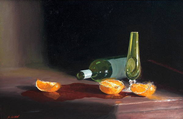 Still Life Art Print featuring the painting Wine And Oranges by Greg Clibon
