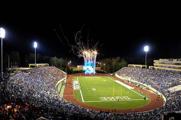 Duke Art Print featuring the photograph Duke Fireworks At A Packed Wallace Wade Stadium by Lance King