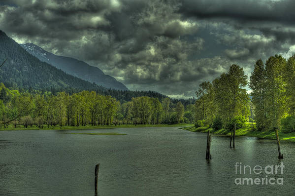 Spring Art Print featuring the photograph Spring Clouds At The Nicomen Slough by Rod Wiens
