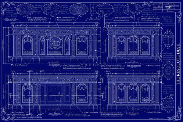 The Resolute Desk Art Print featuring the drawing The Resolute Desk Blueprints - Dark Blue by Kenneth Perez