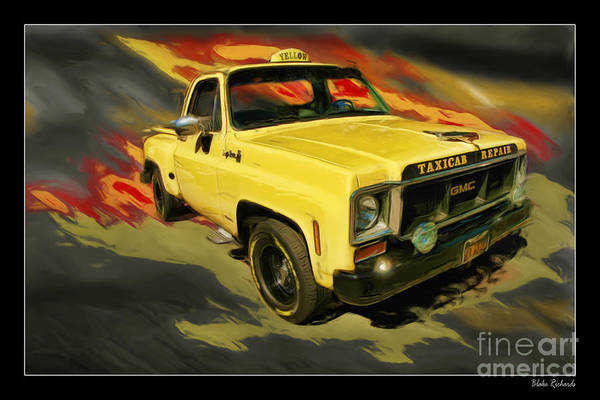 Trucks Art Print featuring the photograph Taxicab Repair 1974 Gmc by Blake Richards