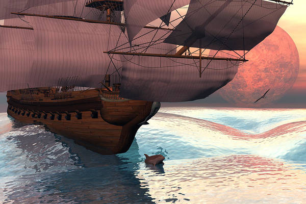 Bryce 3d Scifi Fantasy  Dolphin tall Ship Windjammer \sailing Ship\ Sailing Art Print featuring the digital art Following The Navigator by Claude McCoy