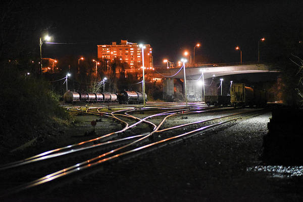 Railyard Art Print featuring the photograph Night At The Railyard by Doug Ash