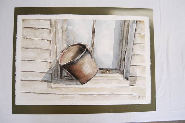 Landscape Of Shakertown Bucket In Winter Art Print featuring the painting Shakertown Bucket by Marti Kuehn