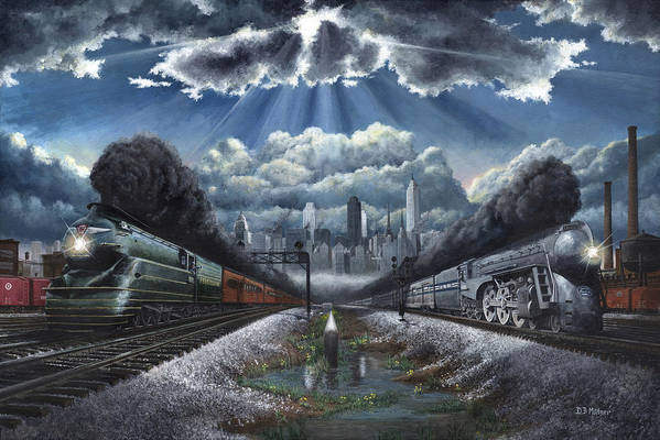 Trains Art Print featuring the painting The Race by David Mittner