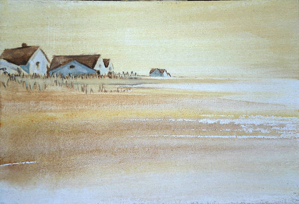 Island House Houses Beach Dunes Nantucket Hamptons Island Sand Blue Sea Ocean Art Print featuring the painting the cottages on BH Island by Amy Bernays