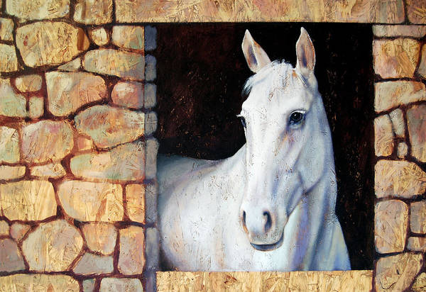 Horse Art Print featuring the painting White Horse1 by Farhan Abouassali