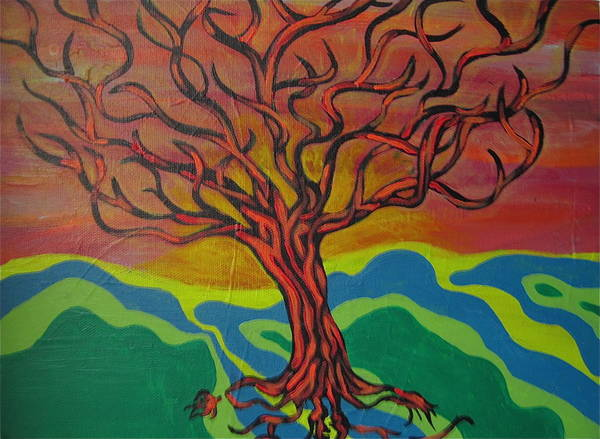 Tree Art Print featuring the painting Burning Tree by Rebecca Jankowitz