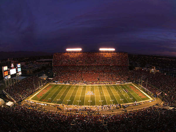 University Of Arizona Art Print featuring the photograph Arizona Stadium Under The Lights by J and L Photography