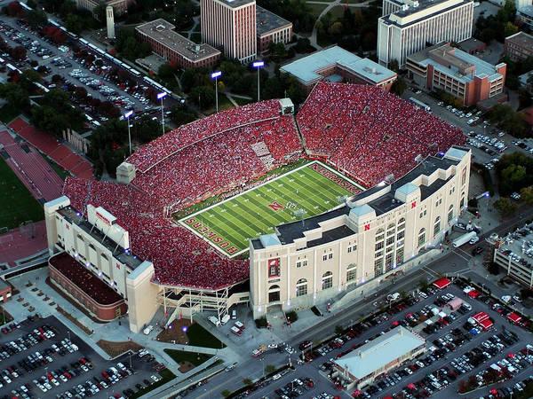 University Of Nebraska Print featuring the photograph Nebraska Aerial View Of Memorial Stadium by PRANGE Aerial Photography
