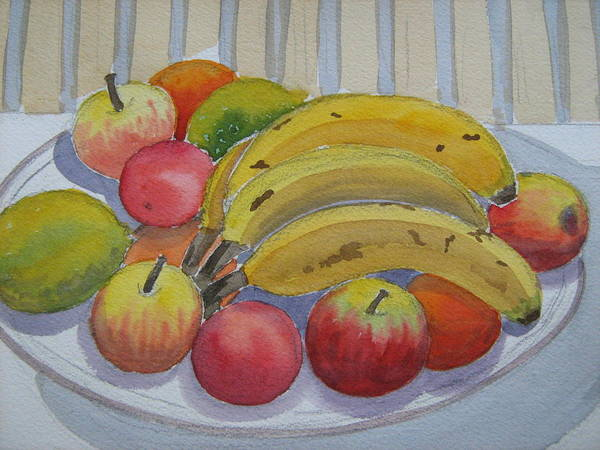 Bananas Art Print featuring the painting Still Life by Heidi Brummer