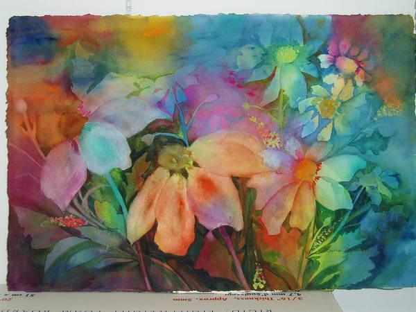 Flowers Art Print featuring the painting Daisies by Maritza Bermudez