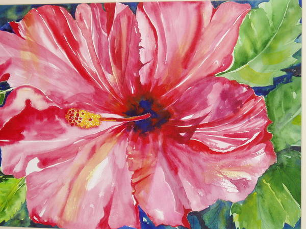 Flower Art Print featuring the painting Hibiscus by Maritza Bermudez