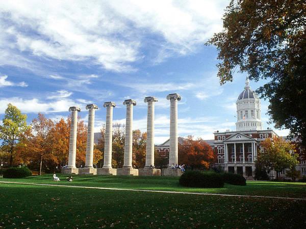 University Of Missouri Art Print featuring the photograph Missouri Columns And Jesse Hall by University of Missouri