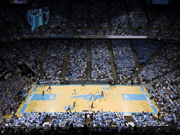 University Of North Carolina Print featuring the photograph North Carolina Tar Heels Dean E. Smith Center by Replay Photos